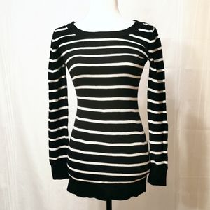 Garage black and white long striped sweater